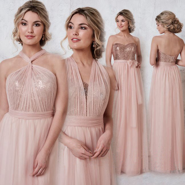 Pink Color Wedding Gown: 2018 Blush Pink Bridesmaid Dresses Empire Waist Prom Dress