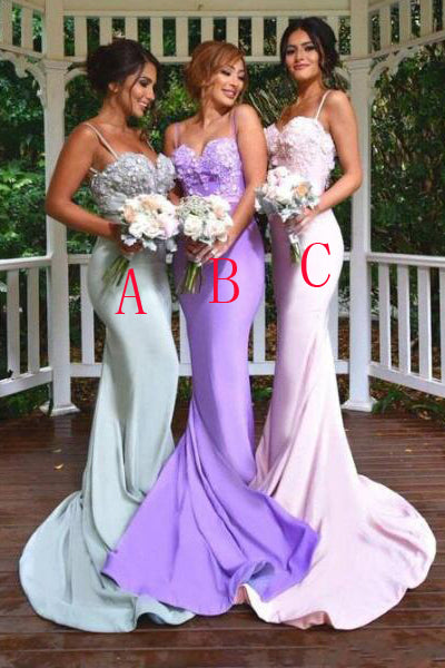 Open Back Bridesmaid Dresses,Spaghetti Straps Mermaid Long Bridesmaid Dress LD752
