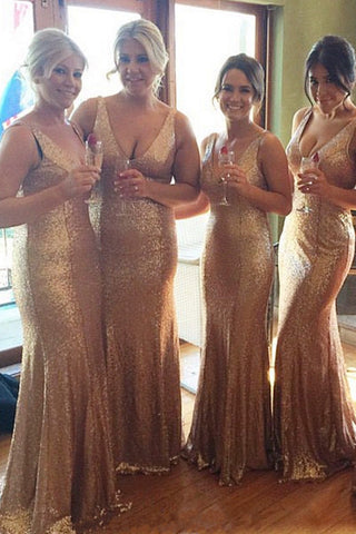 Gold Sequin Bridesmaid Dresses V Neck Bridesmaid Dress Sexy Mermaid Long Bridesmaid Gown Prom LD753