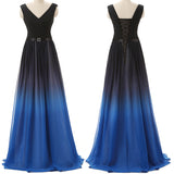 Black-Blue Gradient Bridesmaid Dresses V Neck Off the Shoulder Bridesmaid Dress Prom Gowns LD755