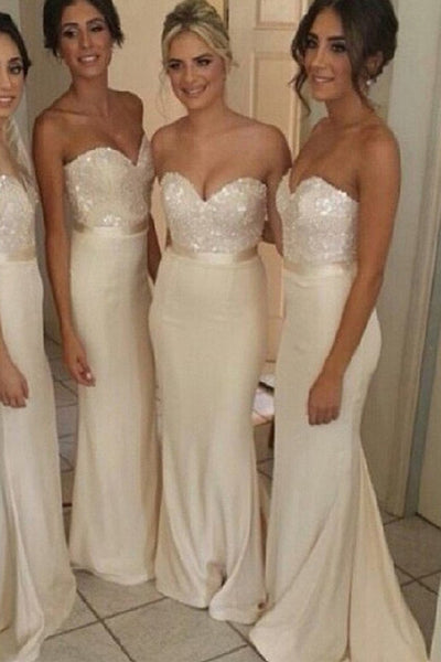 Mermaid Bridesmaid Dresses Long Bridesmaid Dress Sweetheart Ivory Prom Party Dress LD758