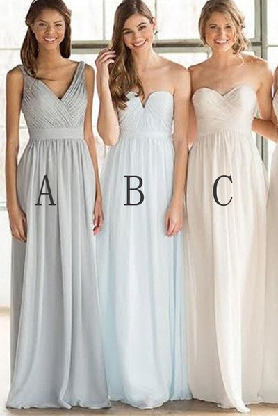 Long Bridesmaid Dresses,Light Blue Chiffon Bridesmaid Dress,Cheap Bridesmaid Gown Prom LD759