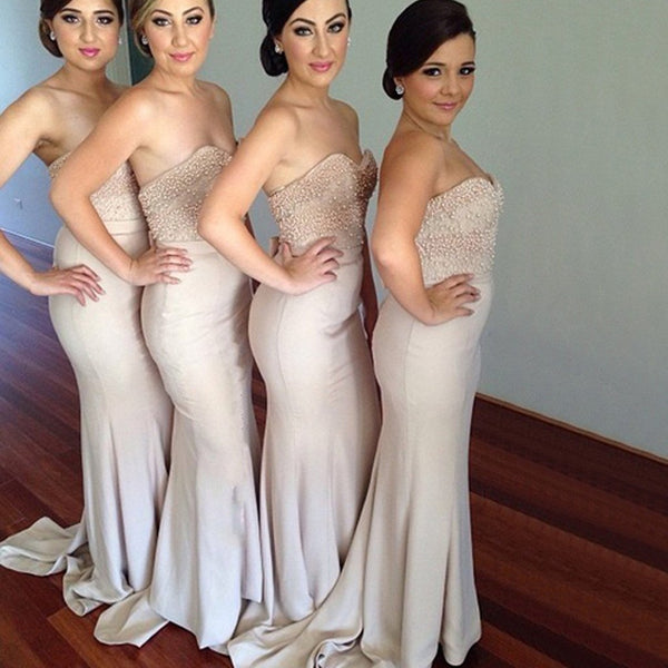 Sweetheart Pearls Mermaid Bridesmaid Dresses Long Affordable Bridesmaid Dress Prom Gowns LD760