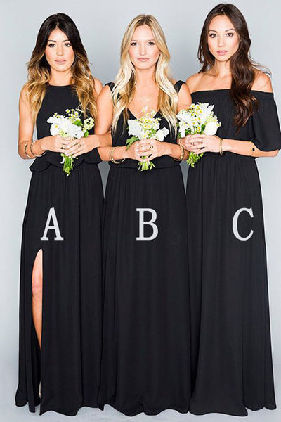 Elegant A Line Long Black Bridesmaid Dresses Cheap Chiffon Bridesmaid Dress Prom Dress LD762