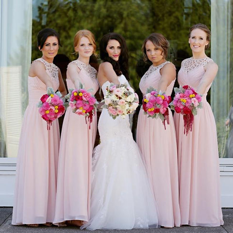 Charming Pink Bridesmaid Dresses A Line Long Bridesmaid Dress Lace Ruffles Bridesmaid Gowns LD764