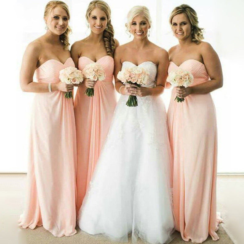 Empire Waist Long Cheap Plus Size Bridesmaid Dresses A Line Blush Pink  Bridesmaid Dress LD767 - US0 / Picture color