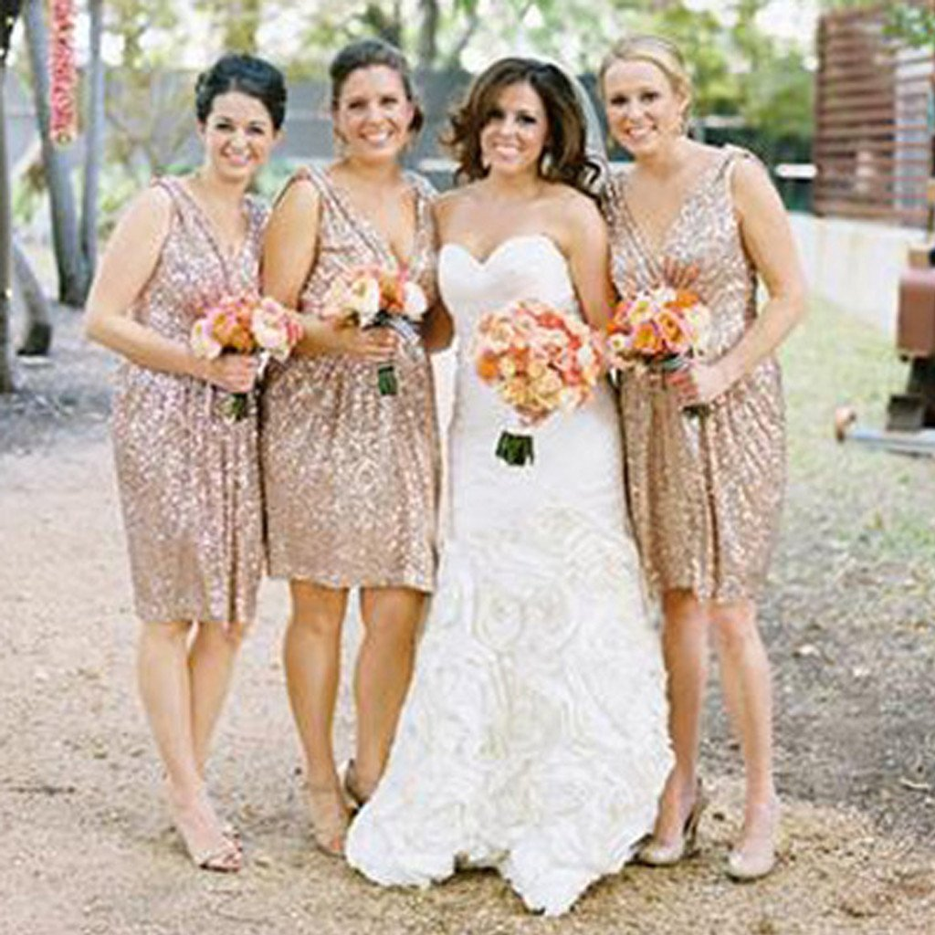 Off the Shoulder Rose Gold Sequin Short Bridesmaid
