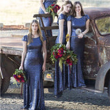 Navy Blue Sequin Mermaid Bridesmaid Dresses Cap Sleeves Long Bridesmaid Dress Wedding LD774