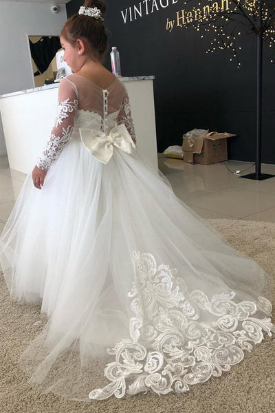 Hot Sales Long Sleeves Lace Ball Gown Flower Girl Dresses Cheap High Quality Kids Dresse LD779