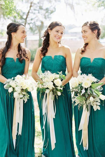 Cheap Green Bridesmaid Dresses A Line Long Empire Waist Chiffon Bridesmaid Dress Prom LD780