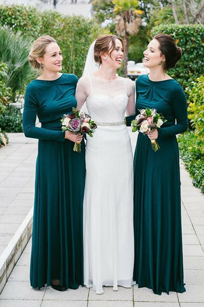 Long Sleeves Atrovirens Bridesmaid Dresses A Line Long Cheap Bridesmaid Dress Prom LD782