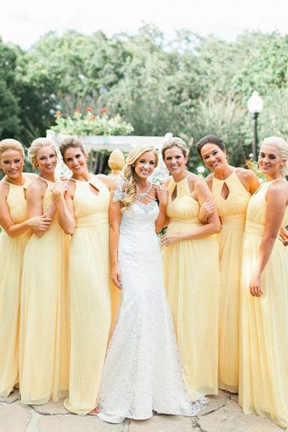 Empire Waist Daffodil Chiffon Bridesmaid Dresses A Line Long Halter Bridesmaid Dress Prom LD783
