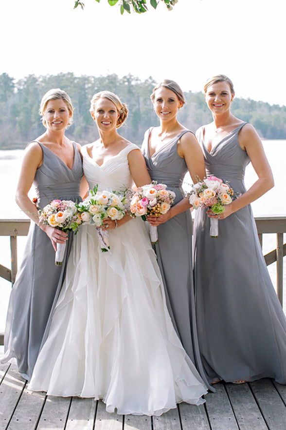 Off the Shoulder V Neck Bridesmaid Dresses Grey Chiffon Long Bridesmaid Dress Prom Gown LD787