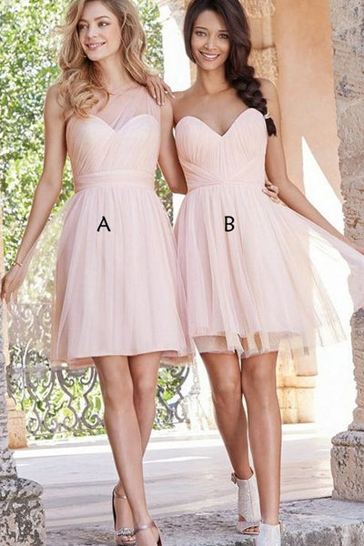 A Line Pink Tulle Short Bridesmaid Dresses Above Knee Length Cheap Bridesmaid Dress LD790