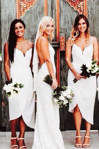 Spaghetti Straps White Short Bridesmaid Dresses Front Short Long Back Bridesmaid Dress Prom LD791