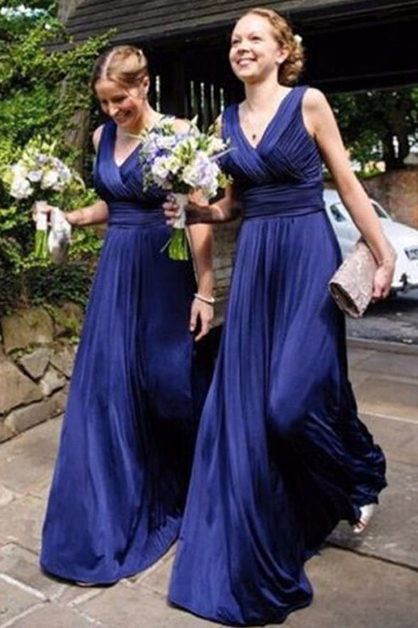 Dark Blue Chiffon Bridesmaid Dresses Off the Shoulder V Neck Cheap Bridesmaid Dress Prom LD792