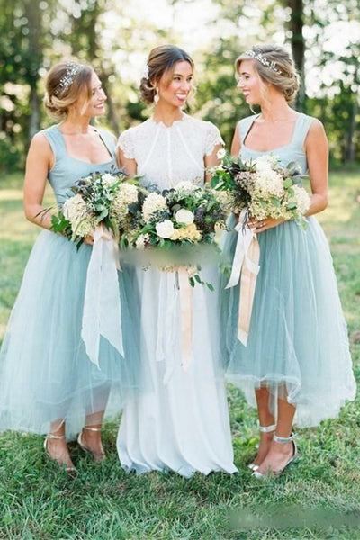 Simple Off the Shoulder Tulle Bridesmaid Dress Front Short Long Back Bridesmaid Dresses Prom LD794