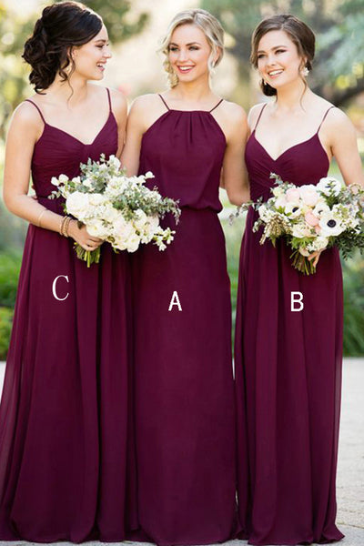 A Line Spaghetti Straps Long Bridesmaid Dresses Chiffon Cheap Bridesmaid Dress Prom LD796