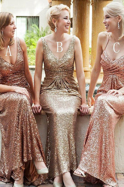 Sexy V Neck Rose Sequin Bridesmaid Dresses Off the Shoulder Bridesmaid Dress Prom Dress LD797