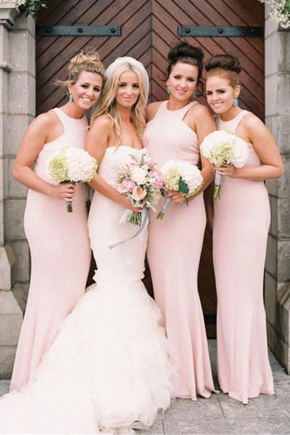 Elegant Off the Shoulder Mermaid Bridesmaid Dress Floor Length Pink Bridesmaid Dresses LD799