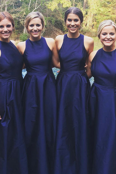 A Line Dark Blue Long Bridesmaid Dress High Neck Off the Shouder Elegant Bridesmaid Dresses LD803