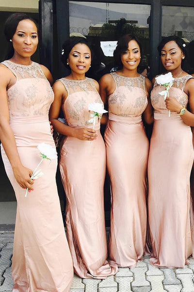 High Neck Lace Mermaid Bridesmaid Dresses Off the Shoulder Pink Bridesmaid Dress Prom LD805