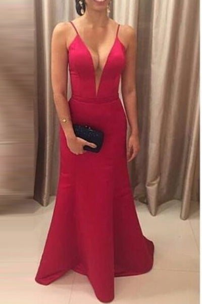 Sexy Deep V Neck Mermaid Prom Dresses Red Backless Straps Prom Dress Evening Gowns LD808