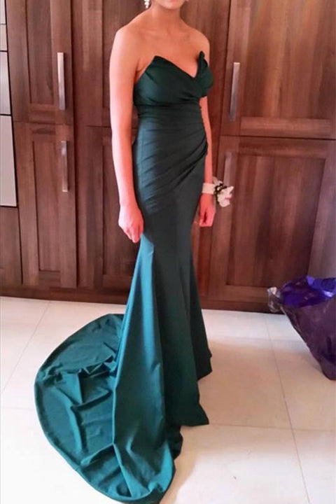 Dark Green Mermaid Prom Dress Train Ruffles Long Prom Dresses Evening Party Gowns LD809