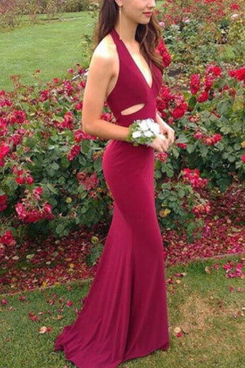 Halter V Neck Mermaid Prom Dresses New 2018 Long Burgundy Prom Dress Evening Party Gown LD810