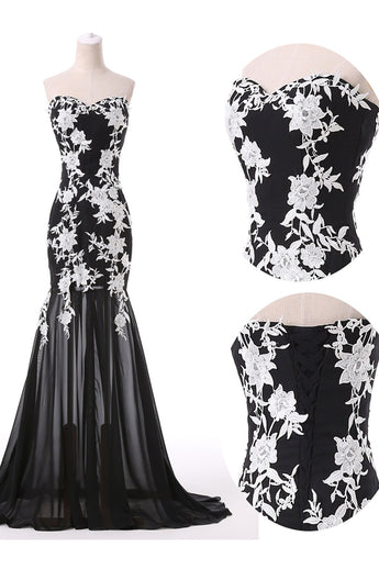 Hot Sales White Lace Black Tulle Mermaid Prom Dresses Sweetheart Evening Party Dress LD811