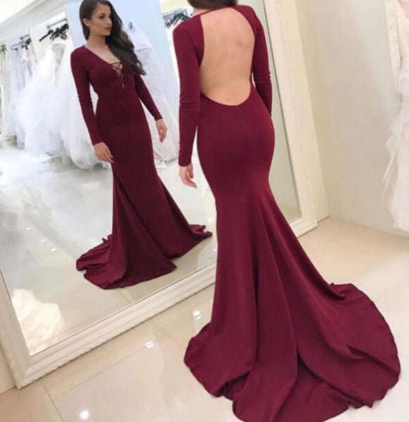 Open Back Burgundy Long Sleeves Prom Dresses Elegant V Neck Mermaid Evening Party Dress LD812