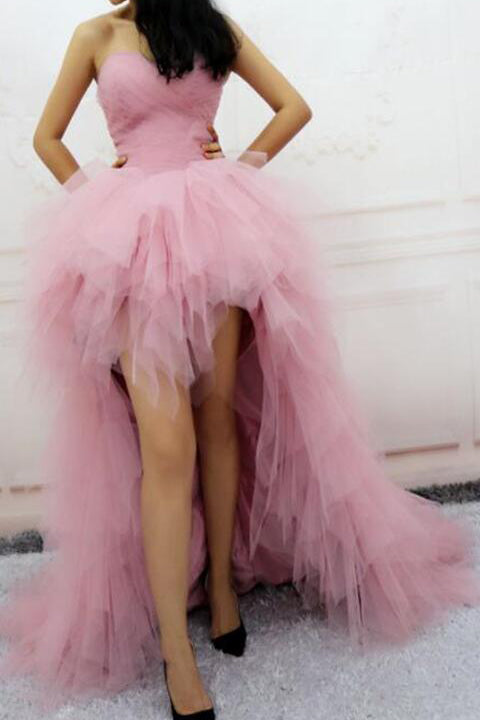 Fashion Pink Tulle Tiered Front Short Long Back Prom Dresses Hi-Lo Evening Party Dress LD813