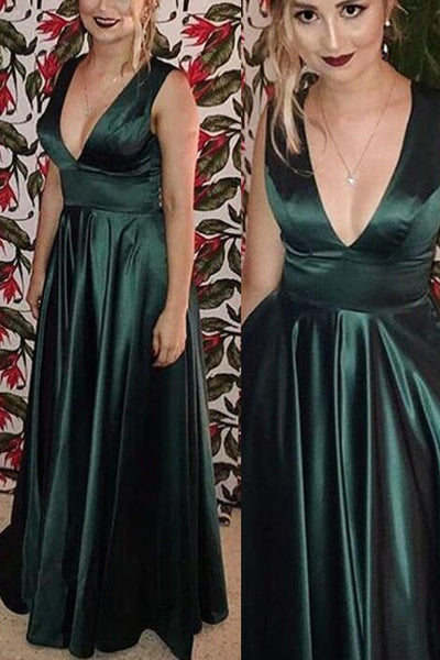 Simple V Neck Dark Green Prom Dress Off the Shoulder Long Evening Dresses Party Gown LD814