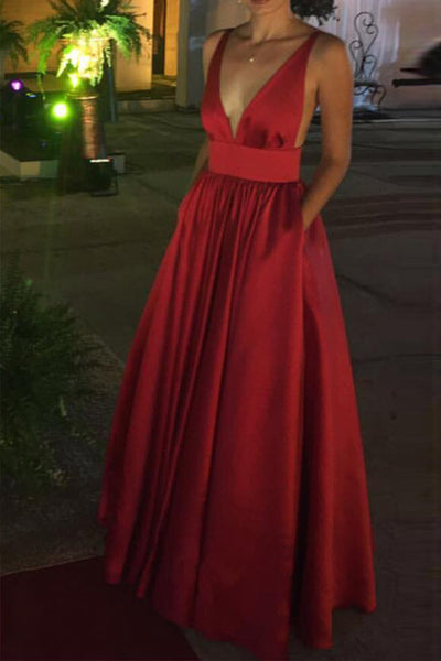 Sexy Open Back Spaghetti Straps Red Prom Dresses V Neck Evening Dress Party Gown LD815