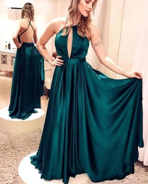 Elegant Open Back Dark Green Prom Dresses Halter Floor Length Evening Party Dress LD818