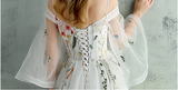 New Arrival Embroidery Trumpet Sleeves Prom Dresses Sexy V Neck Ivory Evening Party Dress LD819