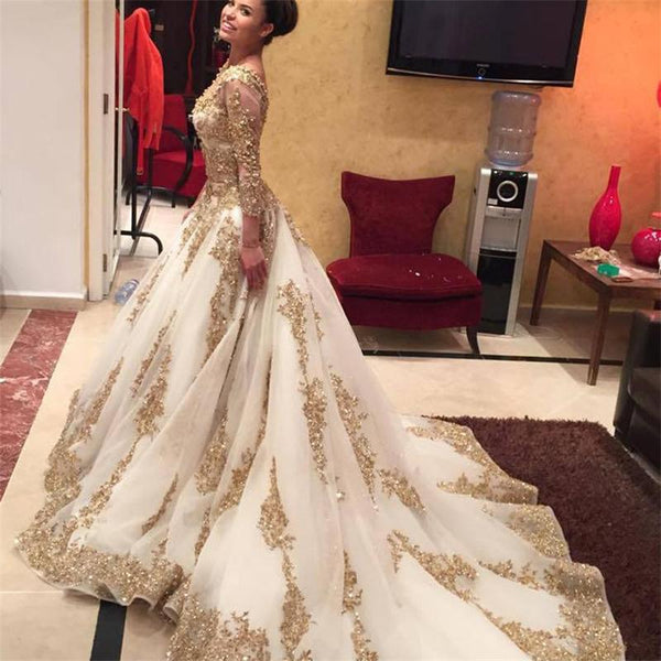 Luxury Gold Lace Long Sleeves Cathedral Train Wedding Dresses Bridal Dress Wedding Gown LD823