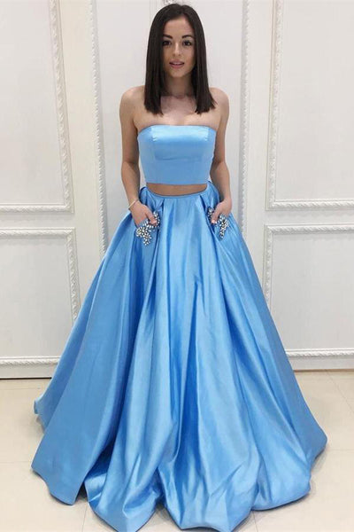 Two Pieces Blue Satin Prom Dresses With Pocket Strapless Long Evening Gown Party Dress LD826