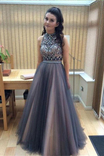 Hot Sales High Neck Rhinestones Backless Prom Dresses Grey Pink Evening Gown Party Dress LD828