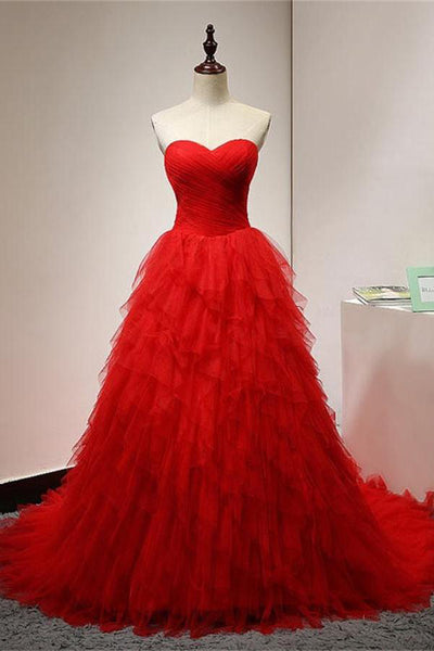 Sweetheart Ball Gown Red Tiered Tulle Prom Dresses Graduation Dress Party Gowns LD830