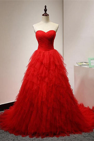Ball Gown Red Tiered Tulle Prom Dresses Graduation Dress Party Gowns ...