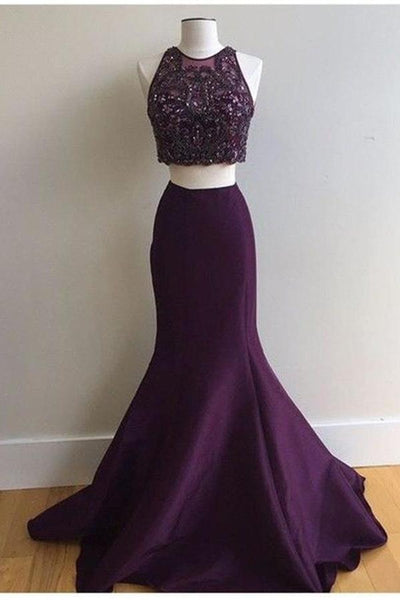 2 Pieces Grape Mermaid Prom Dresses High Neck Rhinestones Evening Dress Party Gown LD832