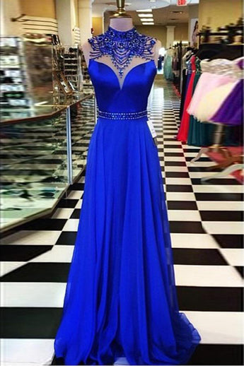Fashion Royal Blue Backless Prom Dresses High Neck Beaded Evening Dress Party Gowns LD833