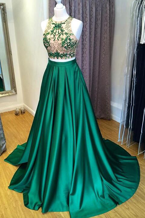 New Arrival 2 Pieces Green Satin Prom Dresses A Line Long Beads Evening Dress Party Gown LD836