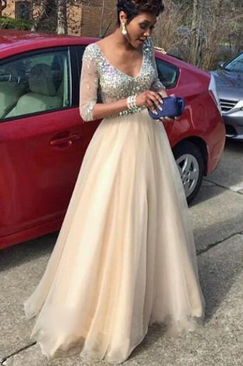 A Line 3/4 Long Sleeves V Neck Crystals Tulle Prom Dresses Evening Dress Party Gowns LD837