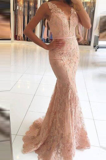 Pink Lace Mermaid Prom Dresses V Neck Long Evening Dress Party Gown LD838