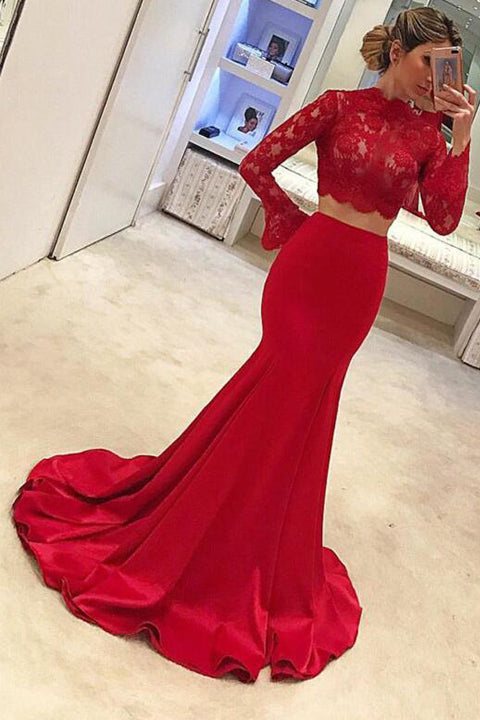 High Neck Red Lace Long Sleeves Mermaid 2 Pieces Prom Dresses Evening Dress Party Gown LD840