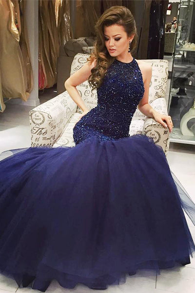 Hot Sales Navy Blue Mermaid Prom Dresses High Neck Back O Rhinestone Evening Dress Party Gown LD842