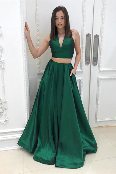 2 Pieces Dark Green V Neck Halter Long Prom Dresses Evening Gown Party Dress With Pocket LD843
