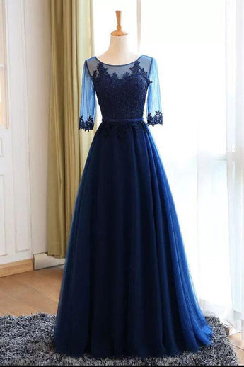 Real Photo Dark Blue Long Sleeves Lace Floor Length Prom Dresses Evening Dress Party Gowns LD855